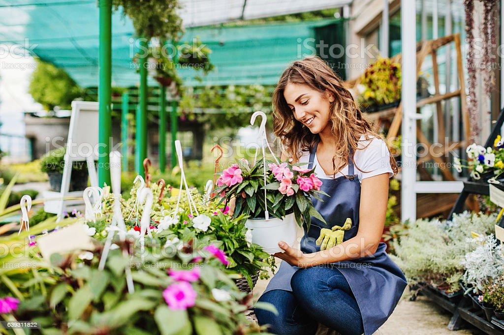 In the garden center stock photo
