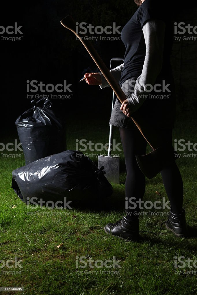 in the garden with axe royalty-free stock photo