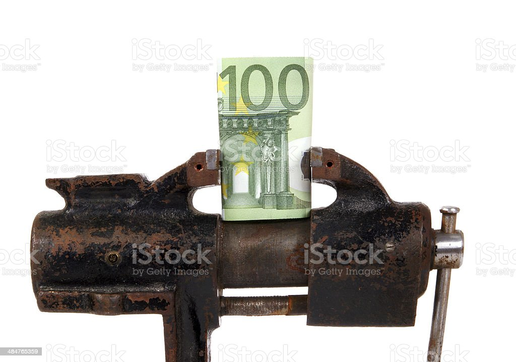 EURO in the grip of economic crisis stock photo