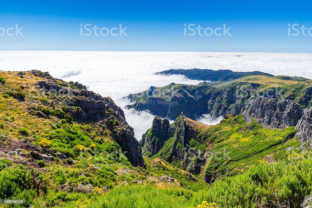 In the heart of Madeira near mountain Pico do Arieiro stock photo