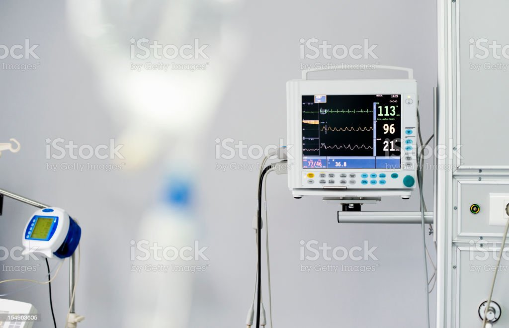 ECG (patient monitor) in the hospital room stock photo