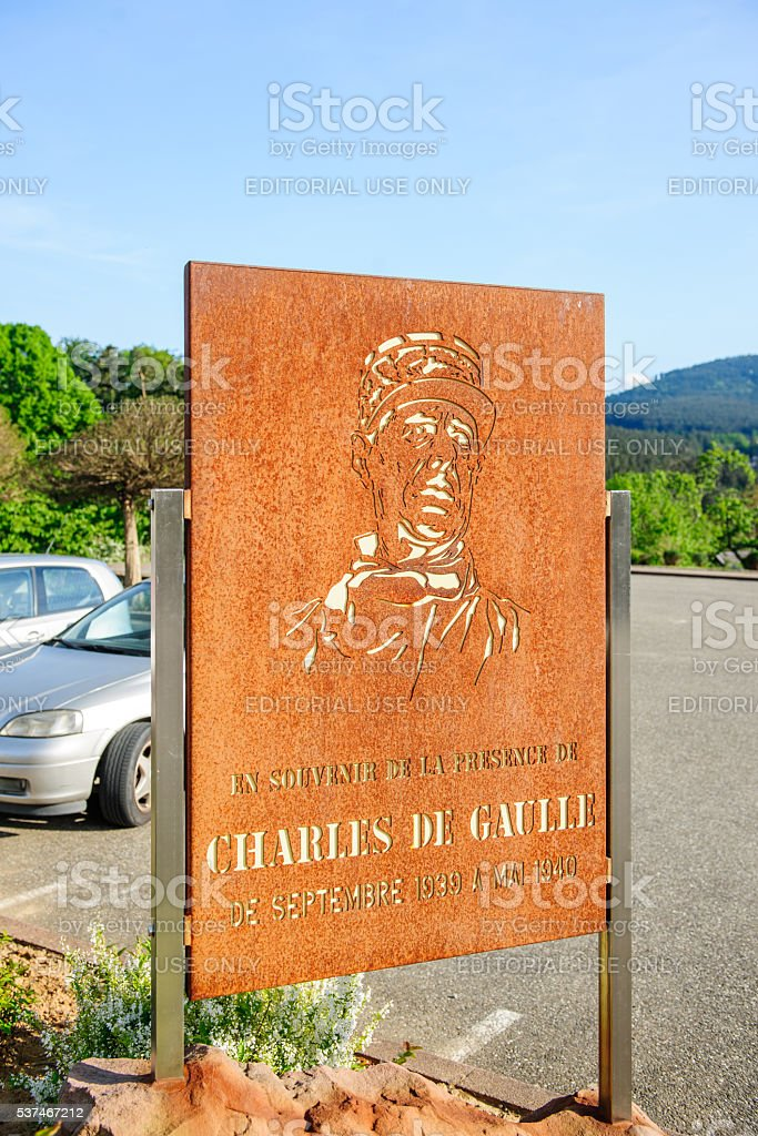 In the memory of Genral Charles de Gaulle placard stock photo