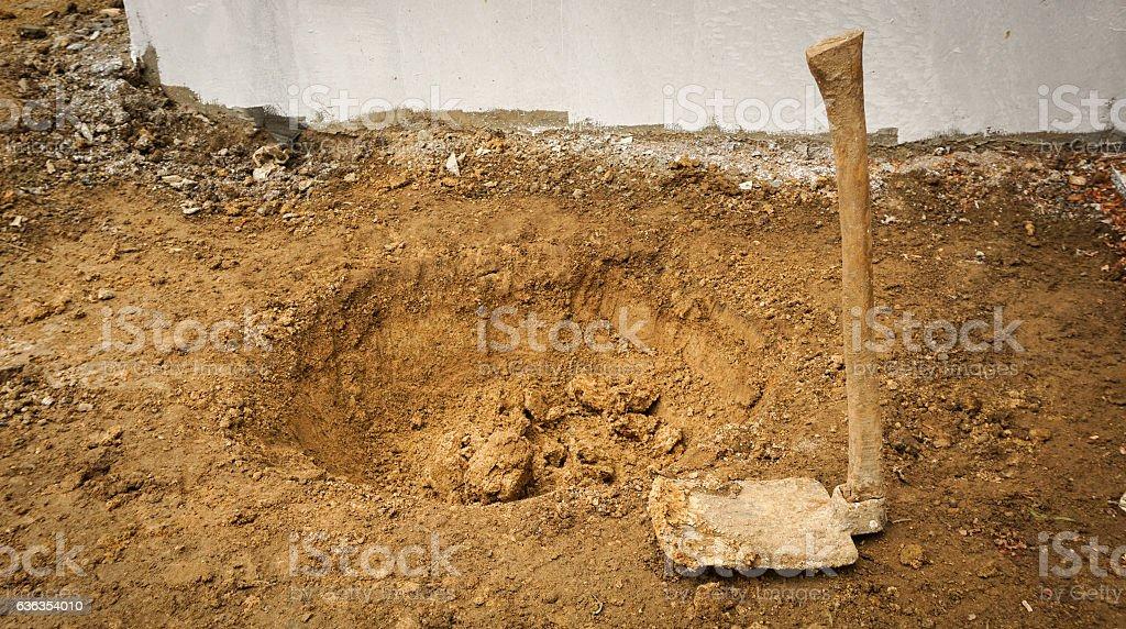 in the middle of digging soil photo taken in Bogor stock photo