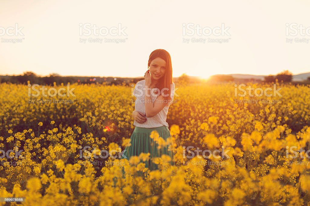 In the middle of floral expanse stock photo