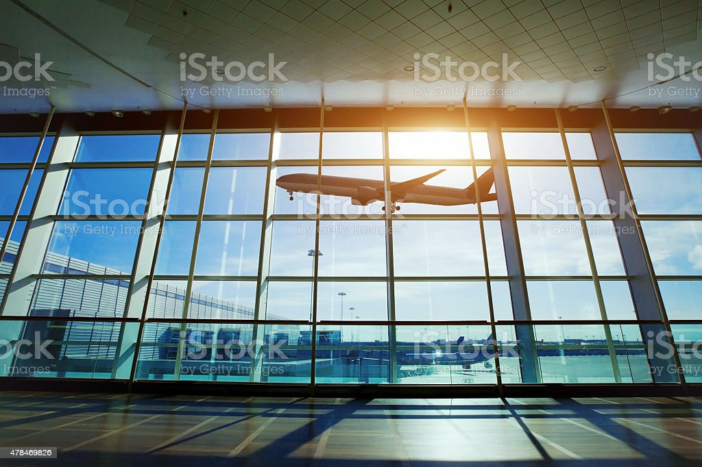 in the modern airport stock photo