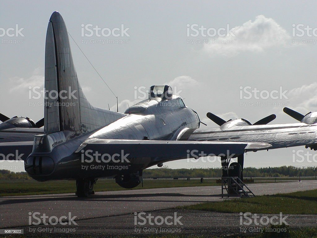 B-17 in the Morning Sunlight stock photo