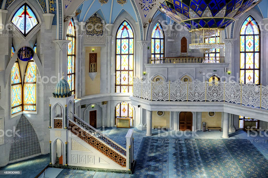 In the mosque of Qolsharif royalty-free stock photo