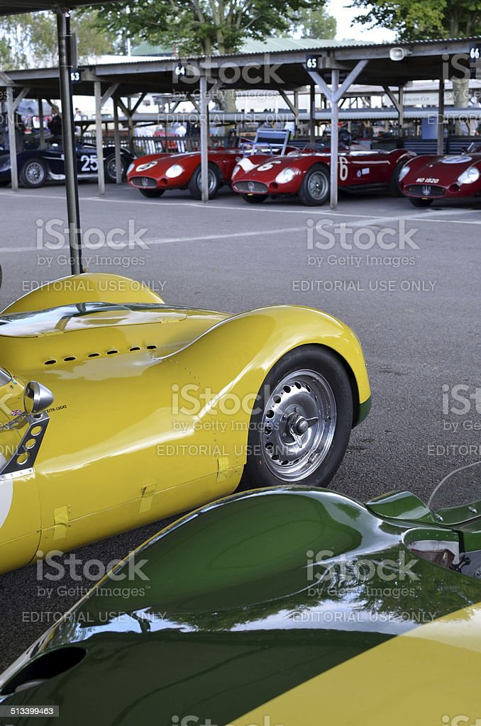 In the paddock at the Goodwood Revival. stock photo
