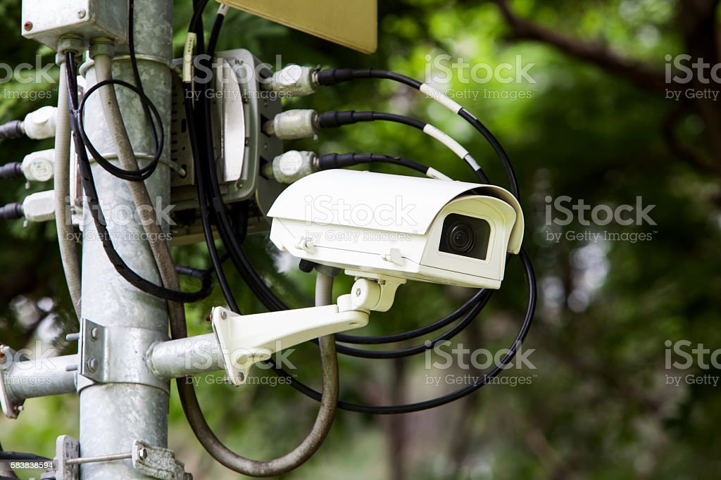 CCTV in the park for safety of people. stock photo