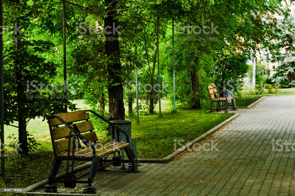 in the park on a bench stock photo