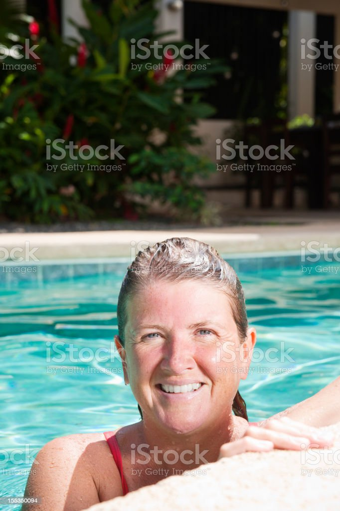 In the pool getting fit stock photo