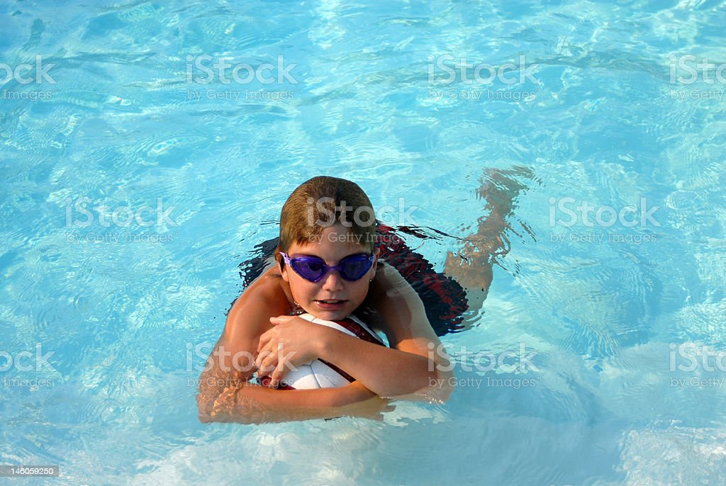 In the pool with goggles stock photo