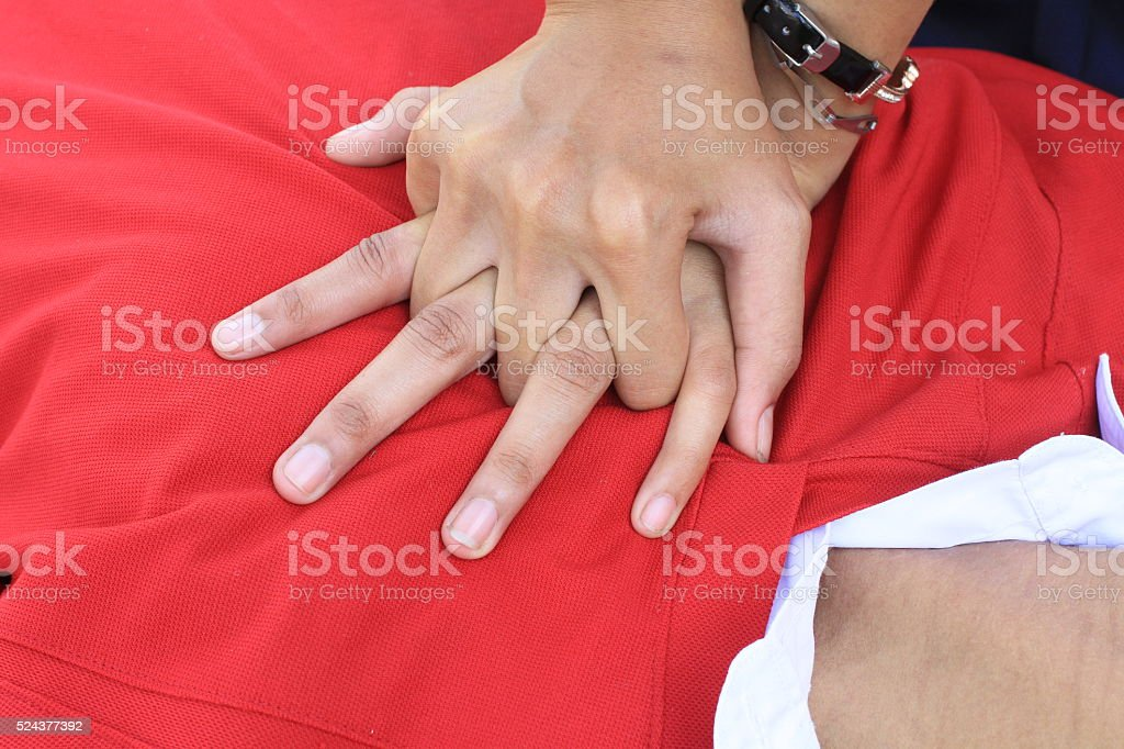 In the process of resuscitation (first aid) ,RESCUE CPR TRAINING stock photo