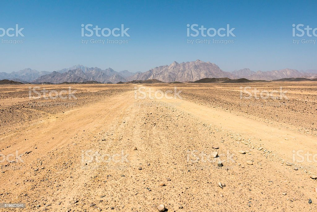 In the sandy arabic desert in egypt, Hurghada stock photo