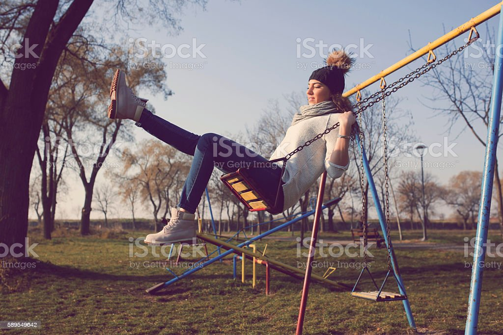 In the strong swing stock photo