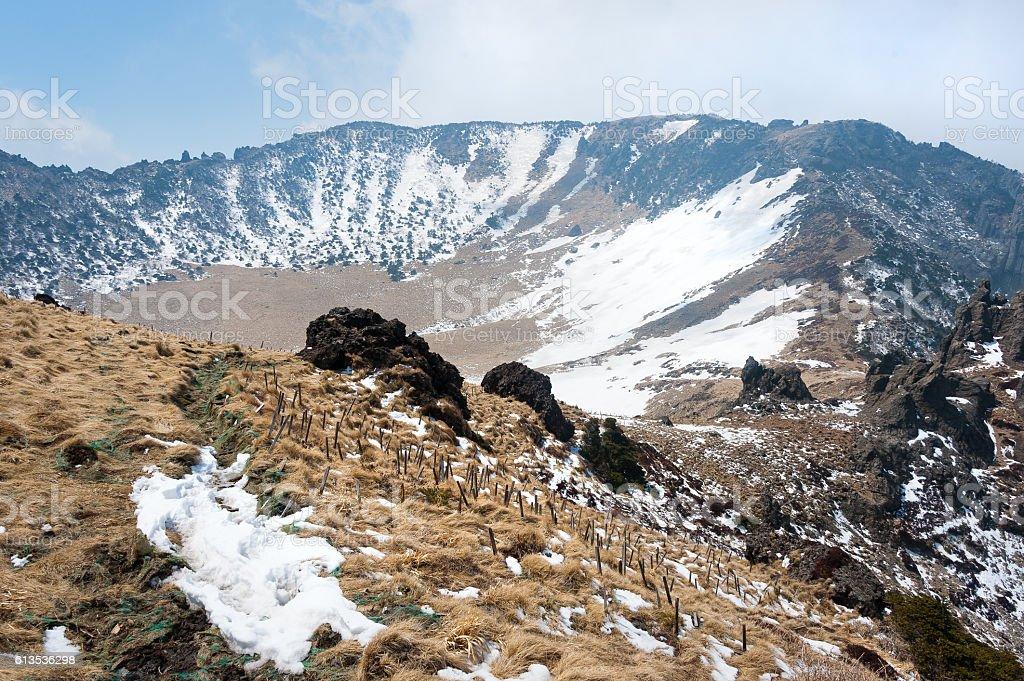 in the top of Hallasan mountain at Jeju island stock photo