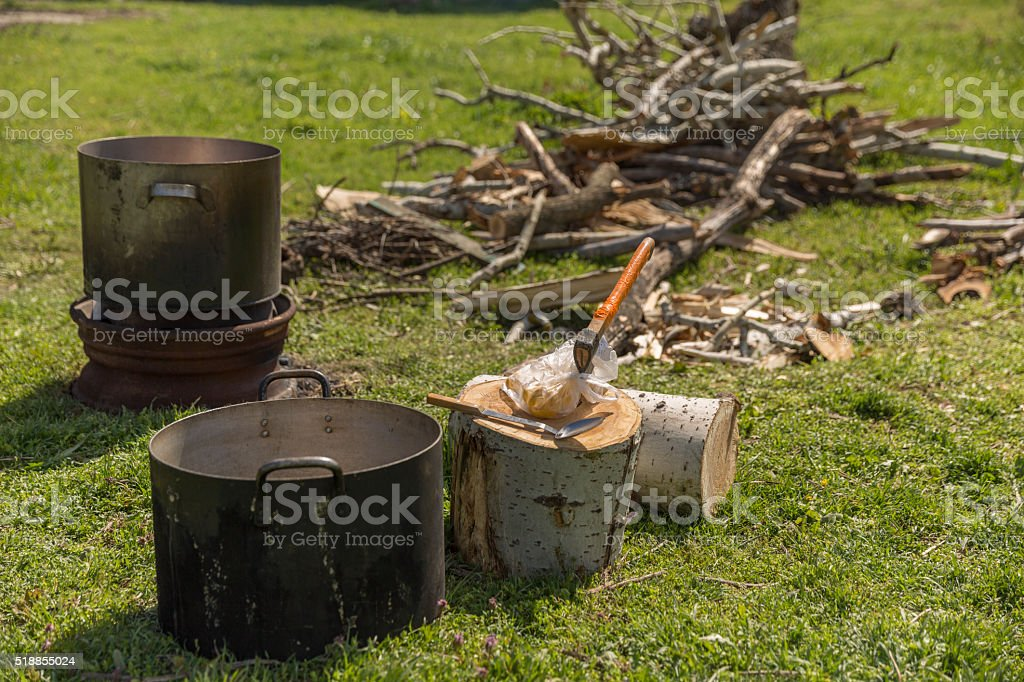 In the tourist camp stock photo