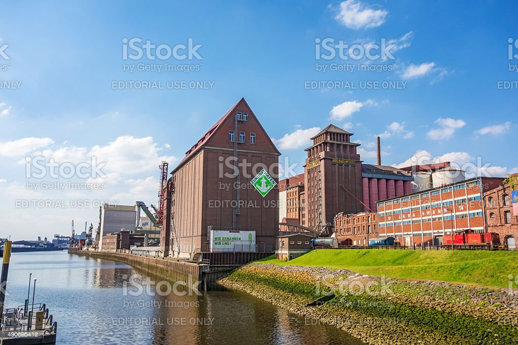 In the west of Bremen city - industrial quarter stock photo