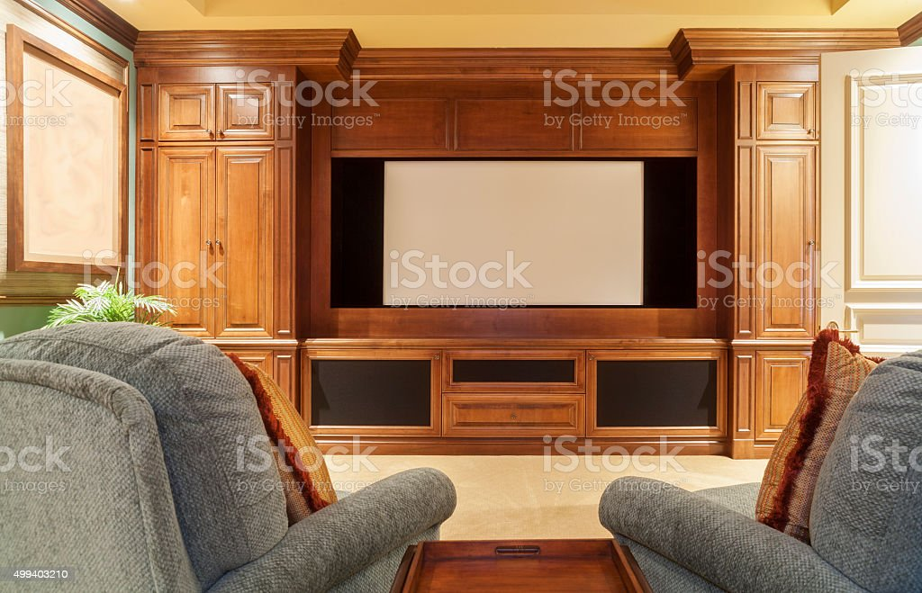 In Theaters Now Home Theater stock photo