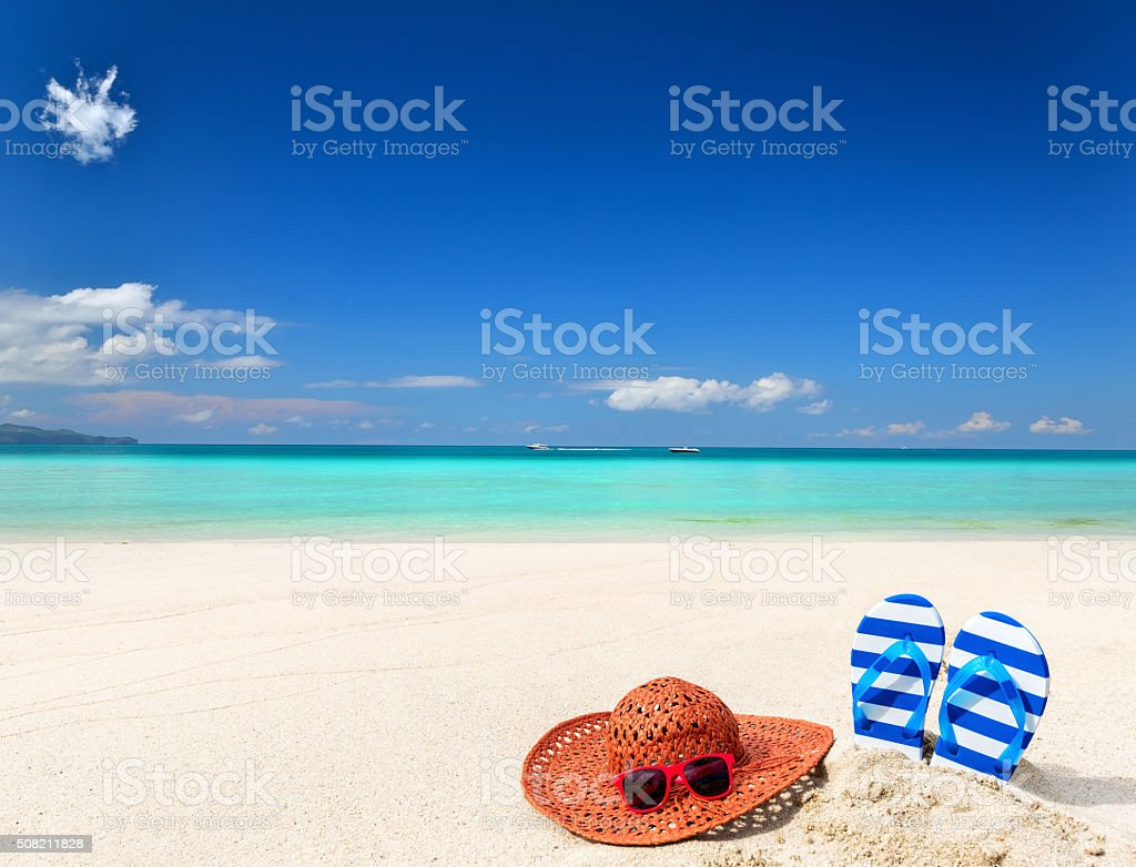 In tropical beach on vacation stock photo