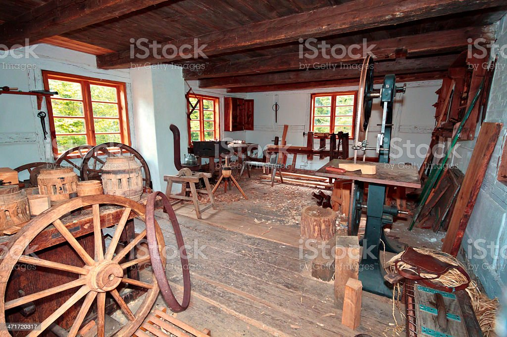 In wheelwright's workshop royalty-free stock photo