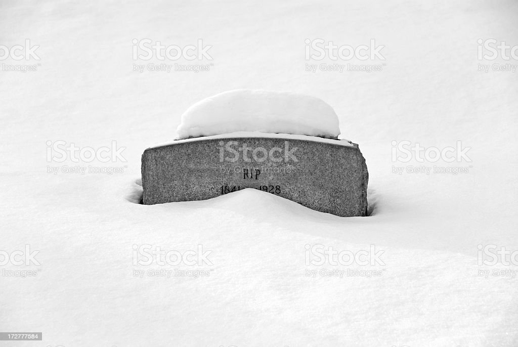 RIP in Winter stock photo