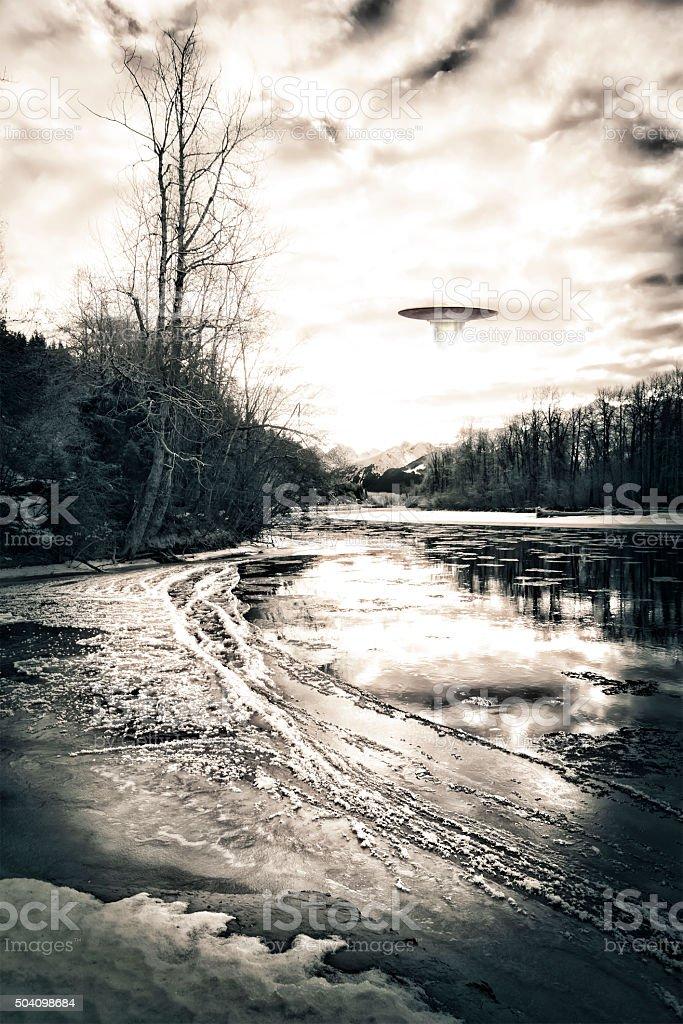 UFO in Winter stock photo
