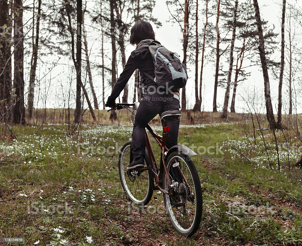 In woods on bike royalty-free stock photo