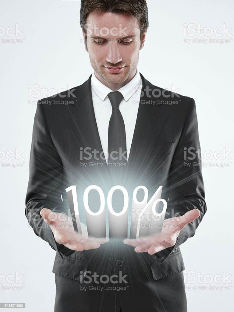100% in your hands stock photo