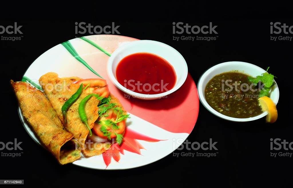Inain Meal - Paratha, Sauce and Chatni stock photo