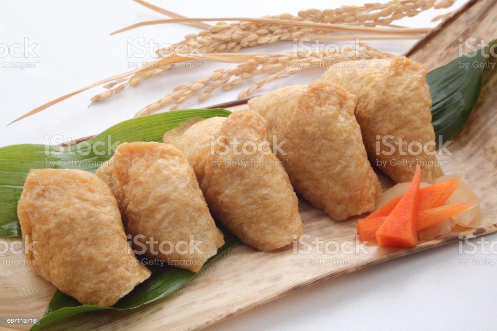 Inari Sushi Wrapped in Fried Tofu, Japanese Food stock photo