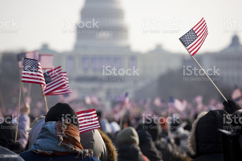 Inauguration Day Crowds for President Barack Obama stock photo