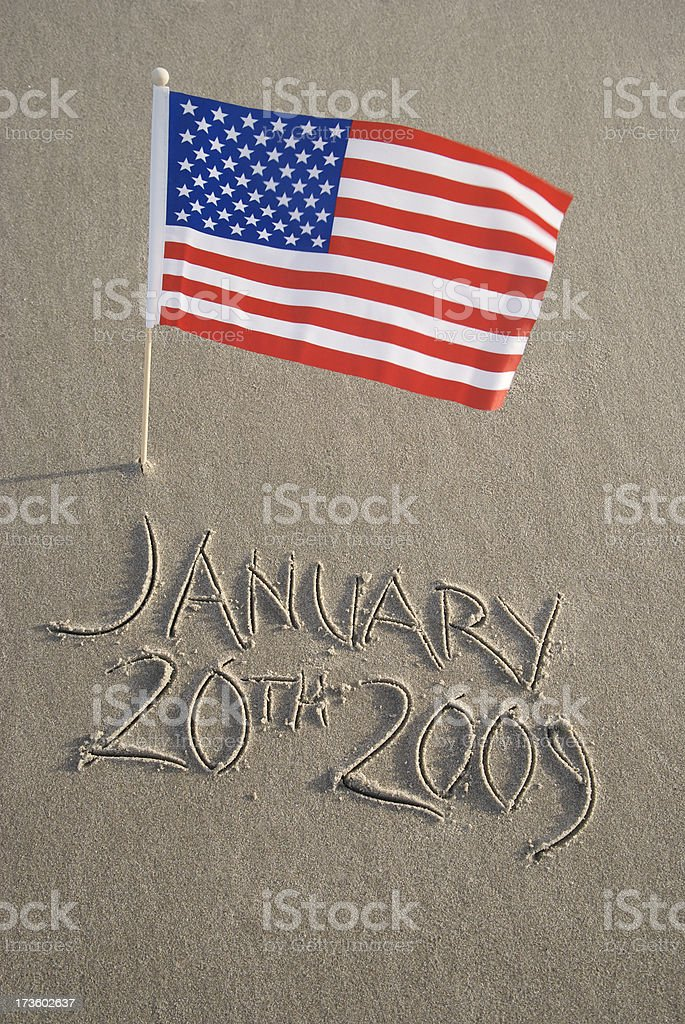 Inauguration Day January 20th 2009 with American Flag stock photo