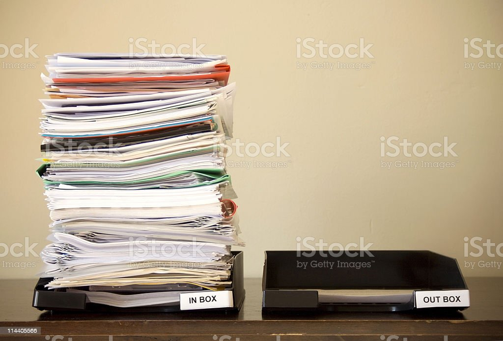 Inbox / Outbox contrast stock photo