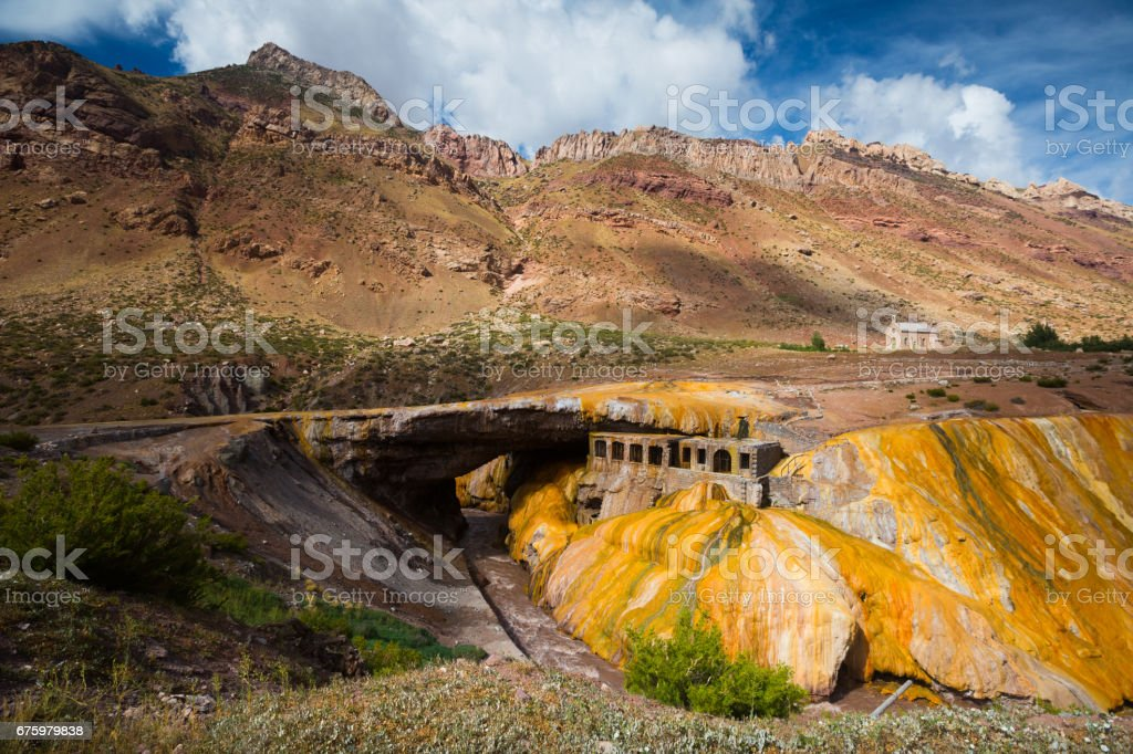 Inca Bridge (Puente del Inca), Mendoza, Argentina stock photo