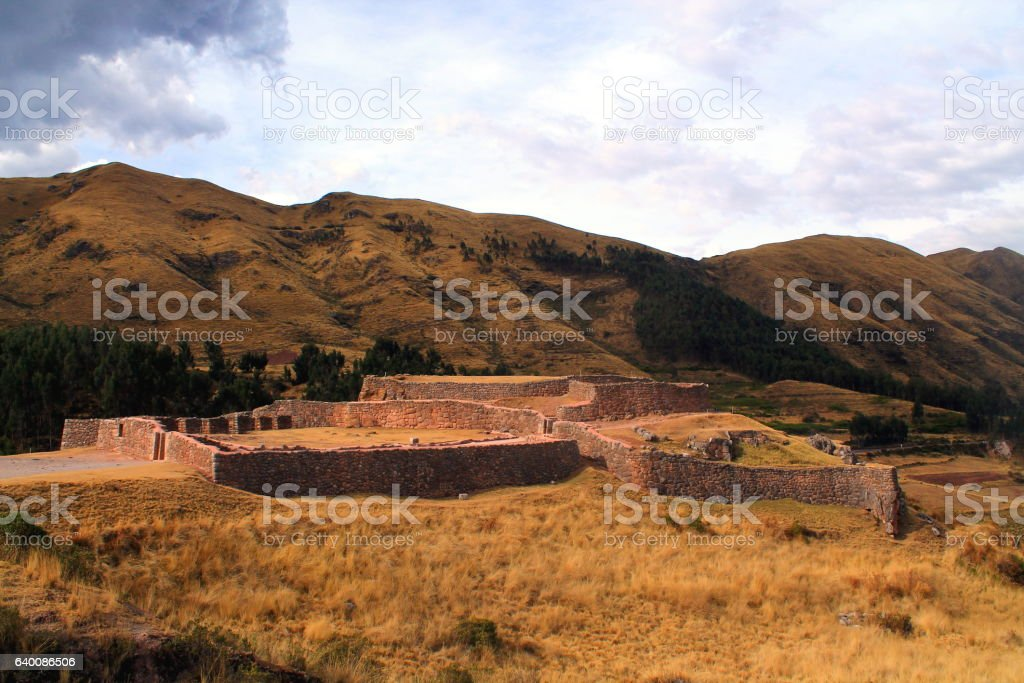 inca excavation site a tempel or city in sacred valley stock photo