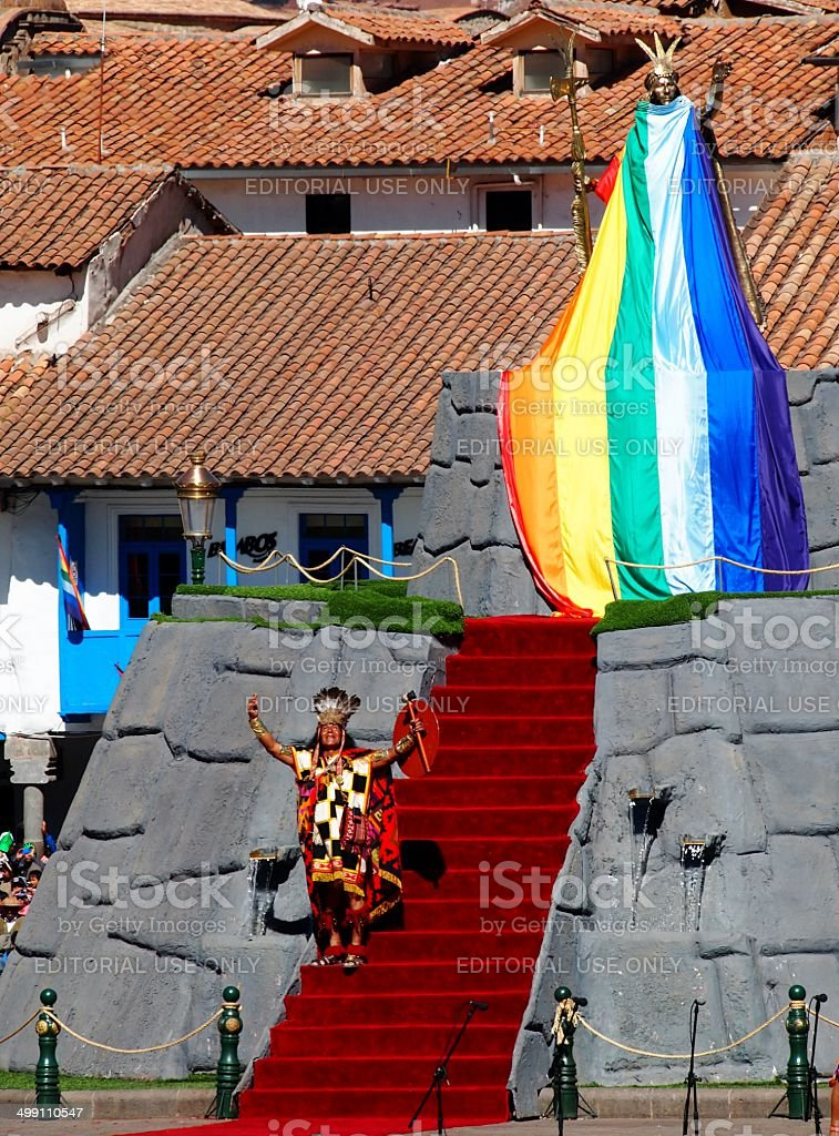 Inca King and Statue of Incan King, Inti Raymi Festival stock photo