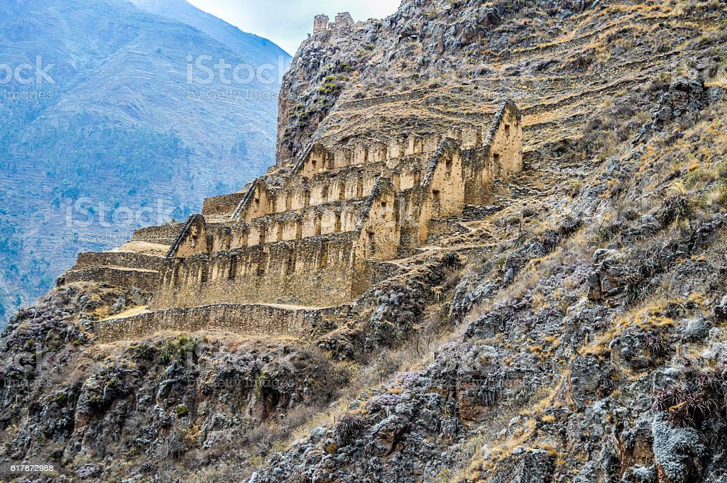 Inca Ruins in Peru - Ollantaytambo Fortress stock photo