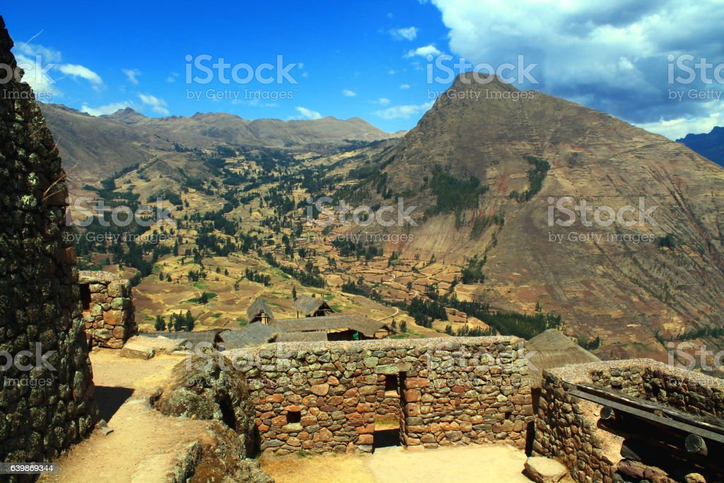 inca ruins of pisaq with mountain panorama in sacred valley stock photo