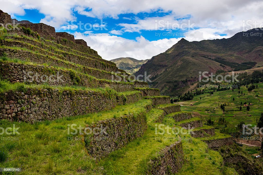 Inca terraces in Pisac, Peru stock photo