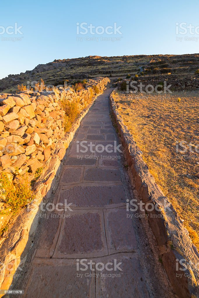 Inca trail on Amantani' Island, Titicaca Lake, Peru stock photo