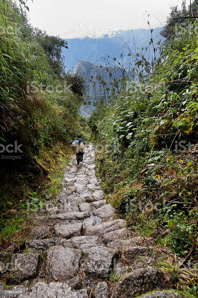 Inca trail porter stock photo