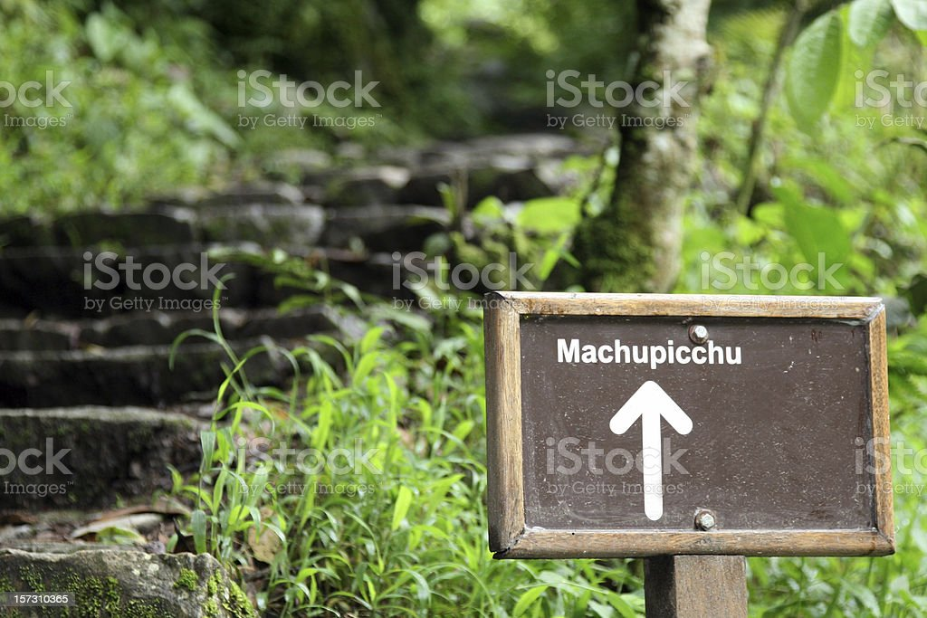 Inca Trail Sign in Tropical Forest, Machu Picchu, peru stock photo