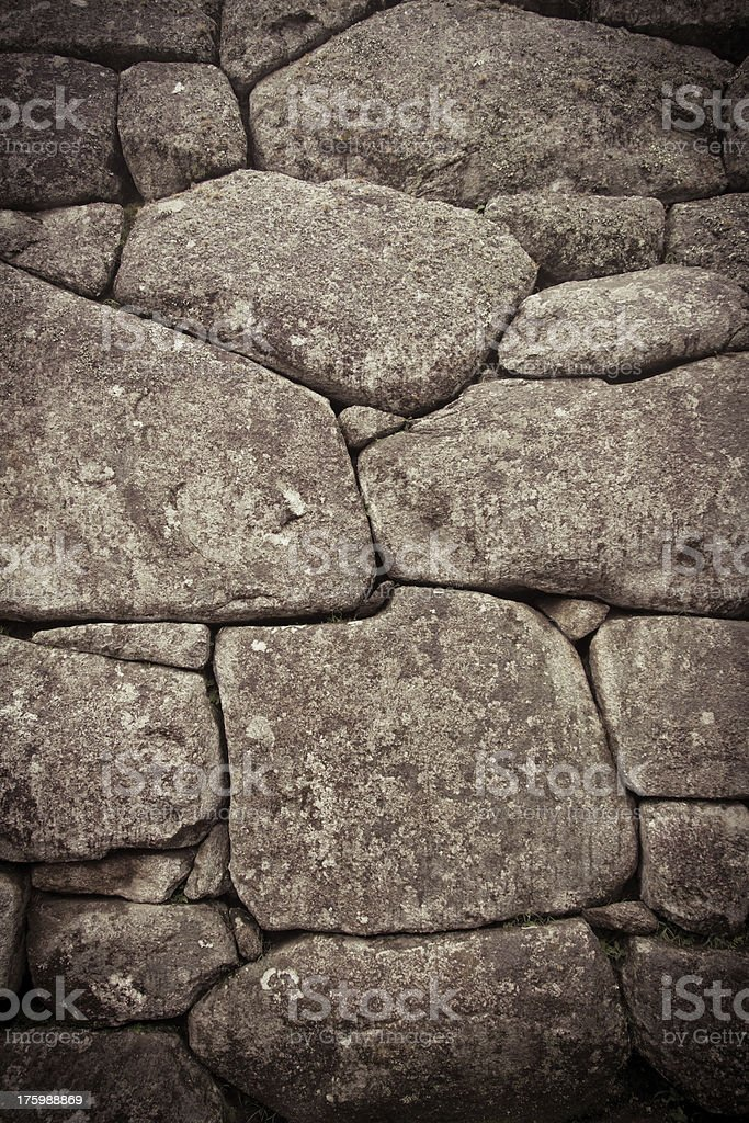Inca wall detail, color processed stock photo