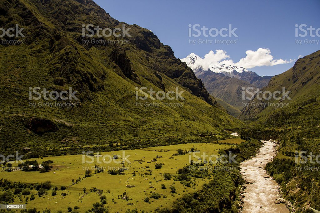 Incan River and Landscape stock photo