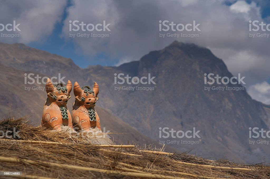 Incan terracota figurines stock photo
