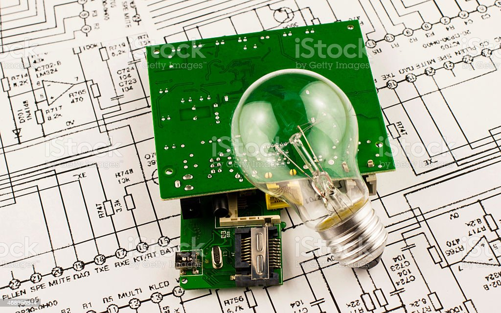 Incandescence  lamp and chip stock photo