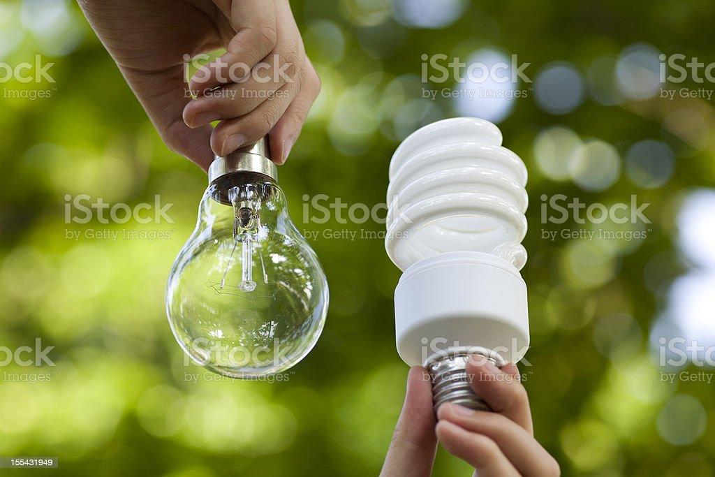 Incandescent and energy saving bulbs stock photo