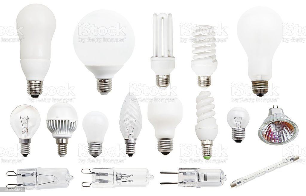 incandescent, compact fluorescent, halogen lamps stock photo