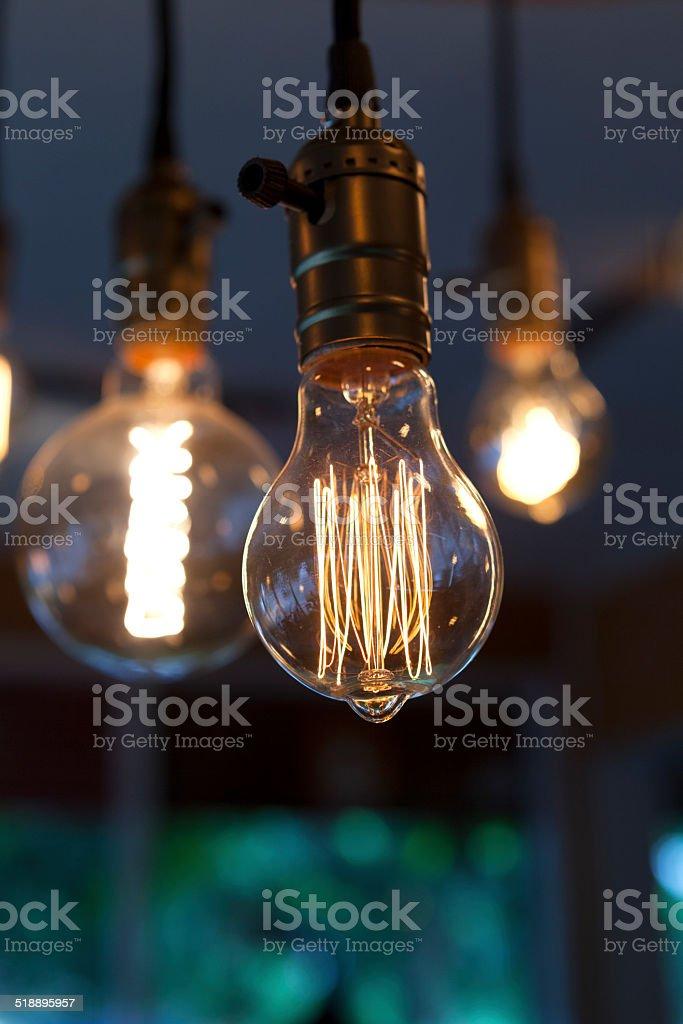 incandescent filament tungsten lamp stock photo